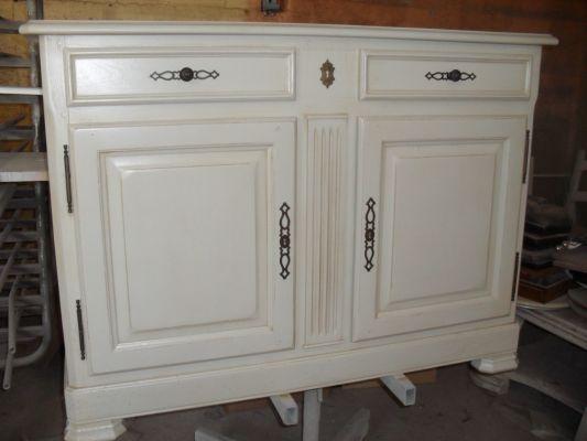 Bahut relook en ivoire l g rement patin - Meuble patine blanc ivoire ...